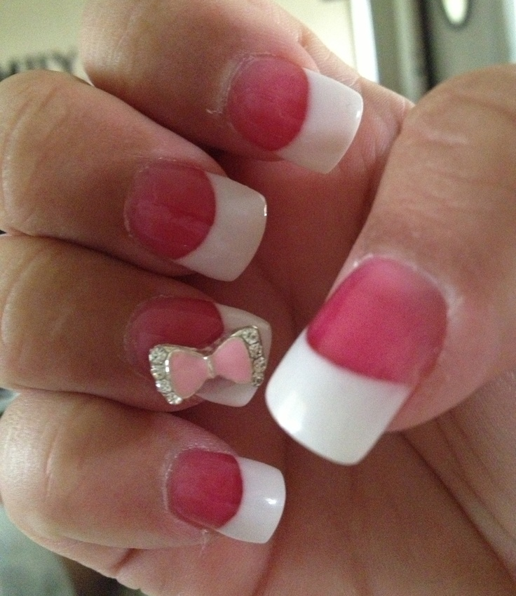 Cute White Tip Nails: Cute And Classy French Tip Nails With 3D Bow!!!