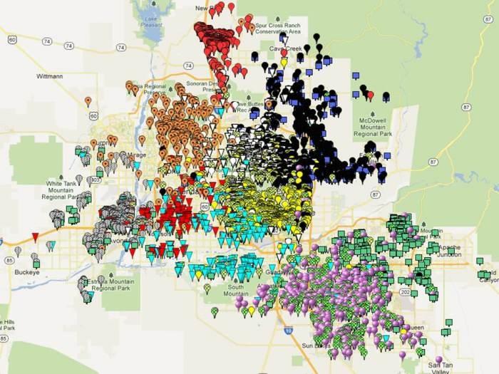 Great Hearts Academies: student map showing metro Phoenix   San Antonio Charter Moms: Students Maps