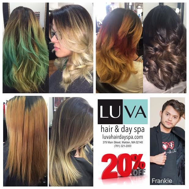Looking for new hair color? Through April schedule your appointment with Frankie Dias, LUVA's Hairstylist, and get 20%Off.  call 781.321.2000 or text 857.415.9430 http://www.luvahairdayspa.com/ Walk-Ins welcome. #hair #massage #skincare #manicure #pedicure  https://www.yelp.com/biz/luva-hair-and-day-spa-malden One Place a Better YOU #beauty #relax #loveit #good #celebration #fun #wellness #special #quality #professional #reliable #hairsalon  #look #prom #wedding #specialoccasion