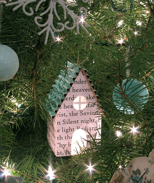 Lighted house ornament  Made by Patchwork Pottery- Laurraine Yuyama