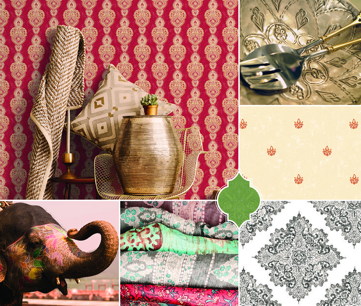 If you love all things Eastern inspired whether it be traditional cultural prints or the many warm earthy tones in it's designs then the Indo Chic wallpaper collection by Galerie is for you!