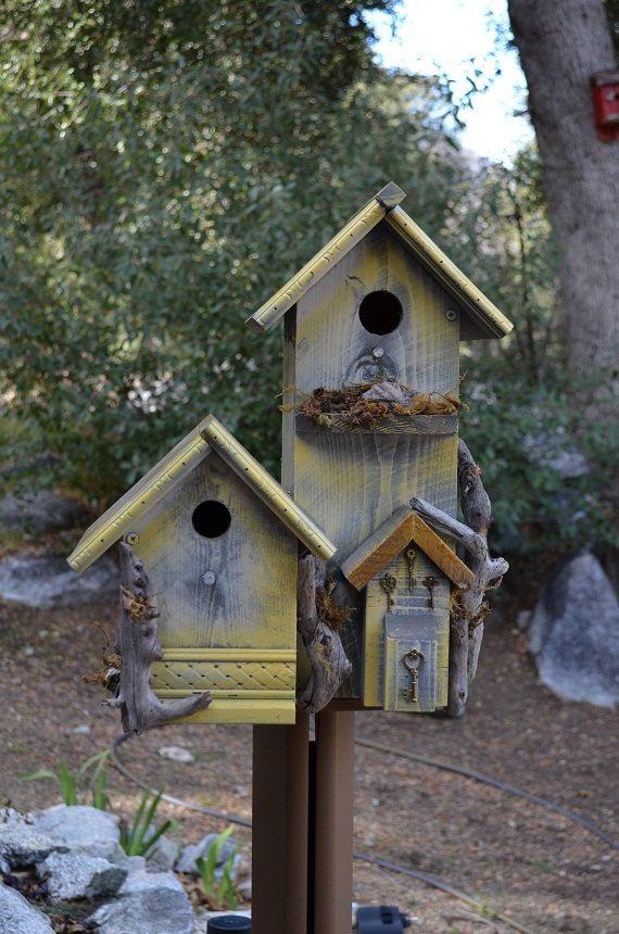 Rustic Birdhouse Condo Country Style Post Mount - Garden Bird Habitats - Free Shipping in US