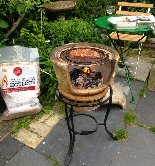 Goose Skirt Grilling on the Clay Chimenea