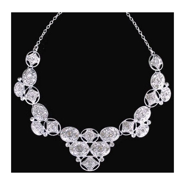 Art Deco Rhinestone Bib Necklace In Silver Tone, Bridal Jewelry (250 DKK) ❤ liked on Polyvore featuring jewelry, necklaces, art deco jewelry, art deco jewellery, bridal jewellery, art deco bridal jewelry and bib necklaces
