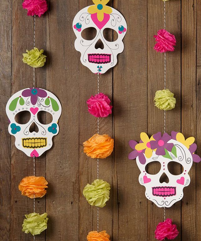 Brighten up your Halloween party with this sugar skull garland.