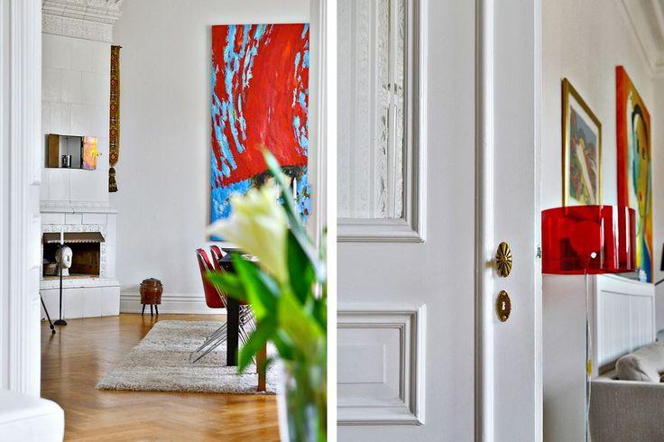 Vardagsrummet ligger i fil med matsalen. Drottninggatan 31 - Bjurfors