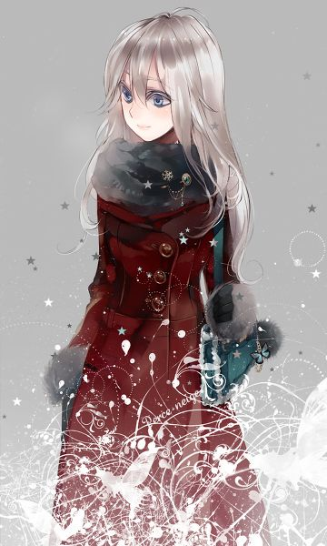 Anime Characters Jacket : Anime girl w silver hair red coat pinterest