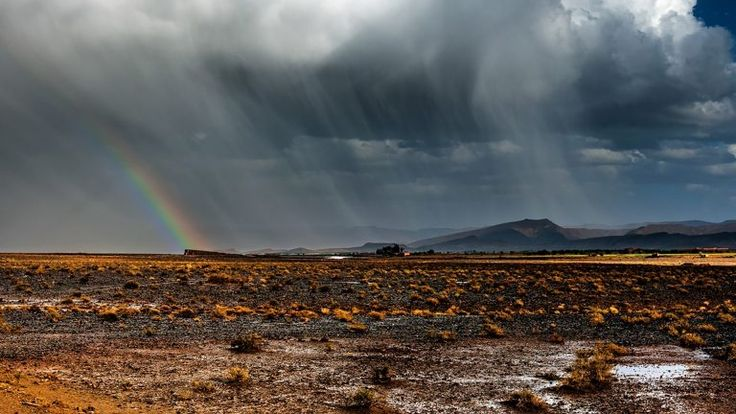 Thunderstorm with rainbow in desert, Morocco | Morocco ...