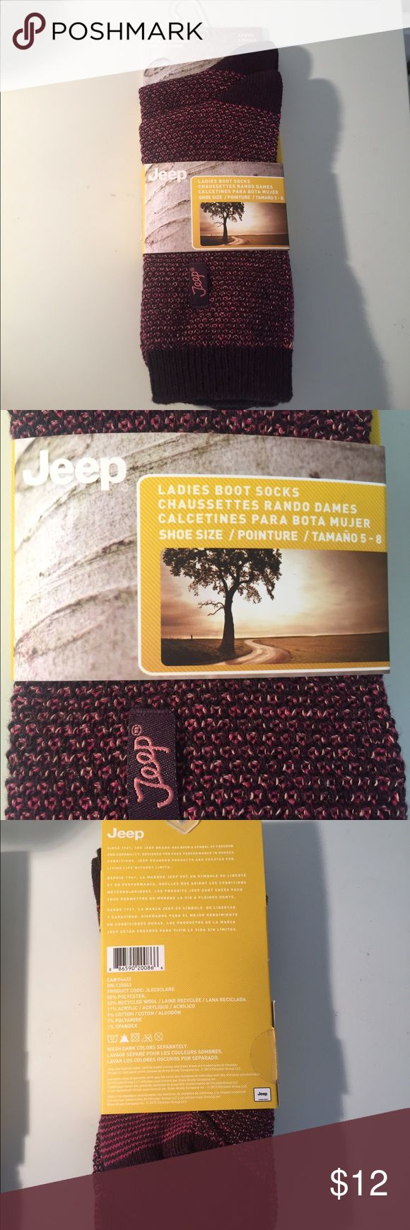 JEEP Boot Socks NEW 2 Pack Raspberry Sz 5-8 JEEP Boot Socks NEW 2 Pack Raspberry Boot Socks with Jeep Logo Sz 5-8. Pretty Socks JEEP Accessories Hosiery & Socks