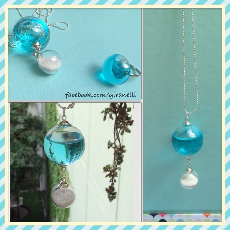 Carribean blue water and sand from Florida (Siesta Key) Blownglass handmade design jewelry by giranelli Www.giranelli.hu