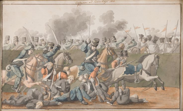 Battle of Bornhöft by Hjalmar Mörner.  Mörners hussars in action.