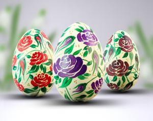 Komplet trzech robionych ręcznie pisanek - Twój pomysł na prezent na Wielkanoc.