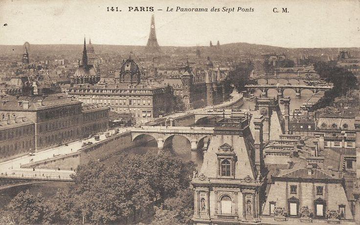 """Une vue classique, le """"Panorama des Sept Ponts"""" (carte postale, vers 1900)"""