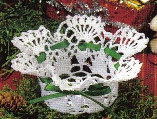 free crochet festive lacy basket pattern