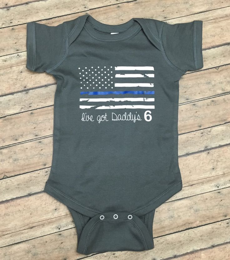 I've got daddy's 6 -police - law enforcement - LEO kids - thin blue line - american flag - back the blue - hero - kids shirt or onesie by 3sonsStudio on Etsy https://www.etsy.com/listing/464715790/ive-got-daddys-6-police-law-enforcement