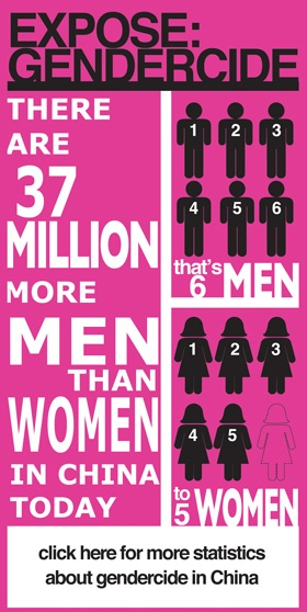 Expose gendercide: There are 37 million more men than women in China today. That's 6 men to 5 women. #prolife
