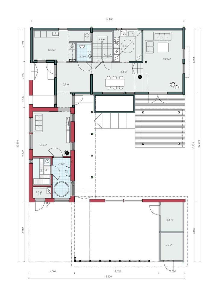 Honka Blockhaus Modell Rock Grundriss Erdgeschoss