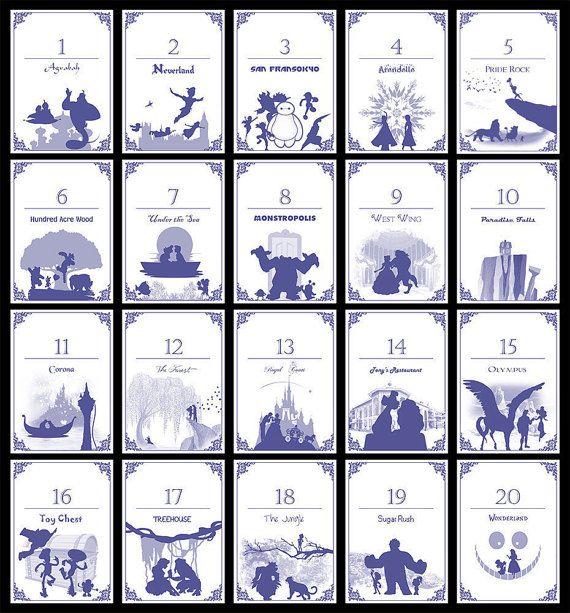Disney-Themen-Tabelle Zahlen Set 20  von TatakiDesign auf Etsy