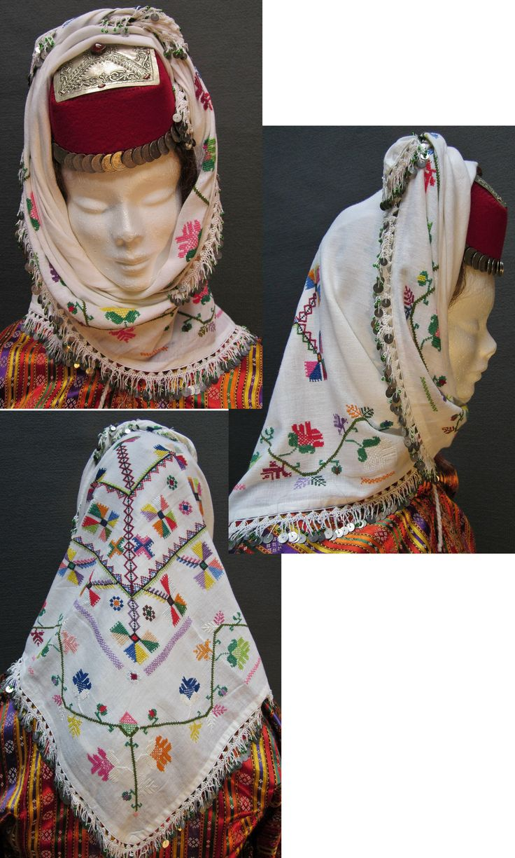 Traditional festive female headgear from the Mudurnu-Taraklı region (Bolu province), mid-20th century. The 'yazma' (large head scarf) is adorned with multicoloured embroidery and edged with needle lace combined with metal sequins. The square shape of the silver 'tepelik' (metal cover of the hat) is singular and characteristic of the Bolu province. (Kavak Costume Collection - Antwerpen/Belgium).