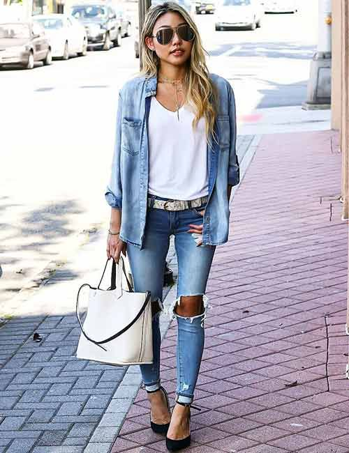 f534b2f3d0 With Distressed Denims. 19 Cute Denim Shirt Outfit Ideas