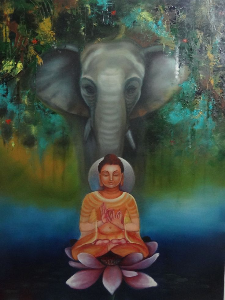 Buy Buddha with Elephant by Archana Goyal@ Rs. 62290. Code:ART_AAGL03_2736 - Shop Art Paintings online in India.