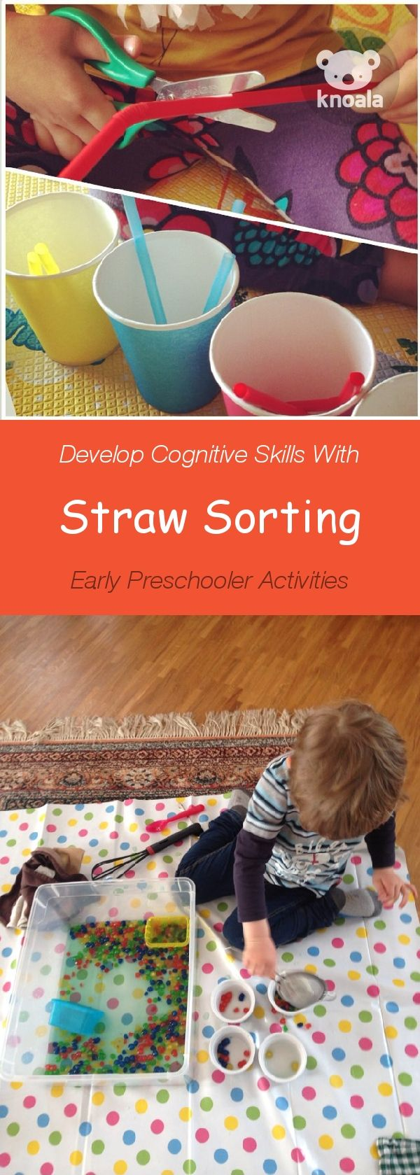 #Knoala Early Preschooler activity 'Straw Sorting' helps little ones develop Cognitive, Motor and Language skills. Click for simple instructions