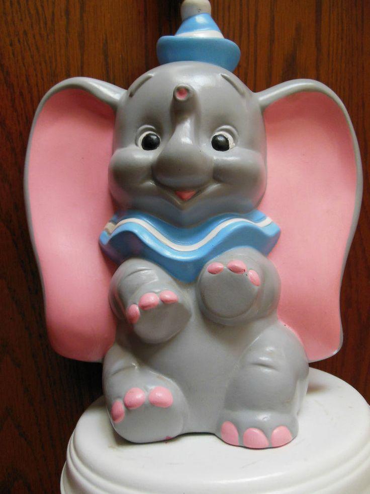 Vintage Dumbo Walt Disney Productions Ceramic Pottery Lamp