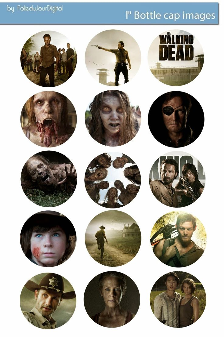 Folie du Jour Bottle Cap Images: Walking Dead free digital bottle cap images 1""