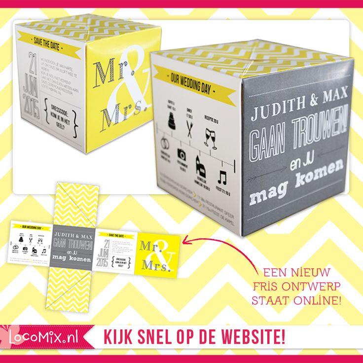Originele trouwkaart: out of the box! Met opvallen geel chevron patroon en moderne typografie. http://trouwkaarten.locomix.nl/trouwkaarten/trouwkaarten-out-of-the-box/