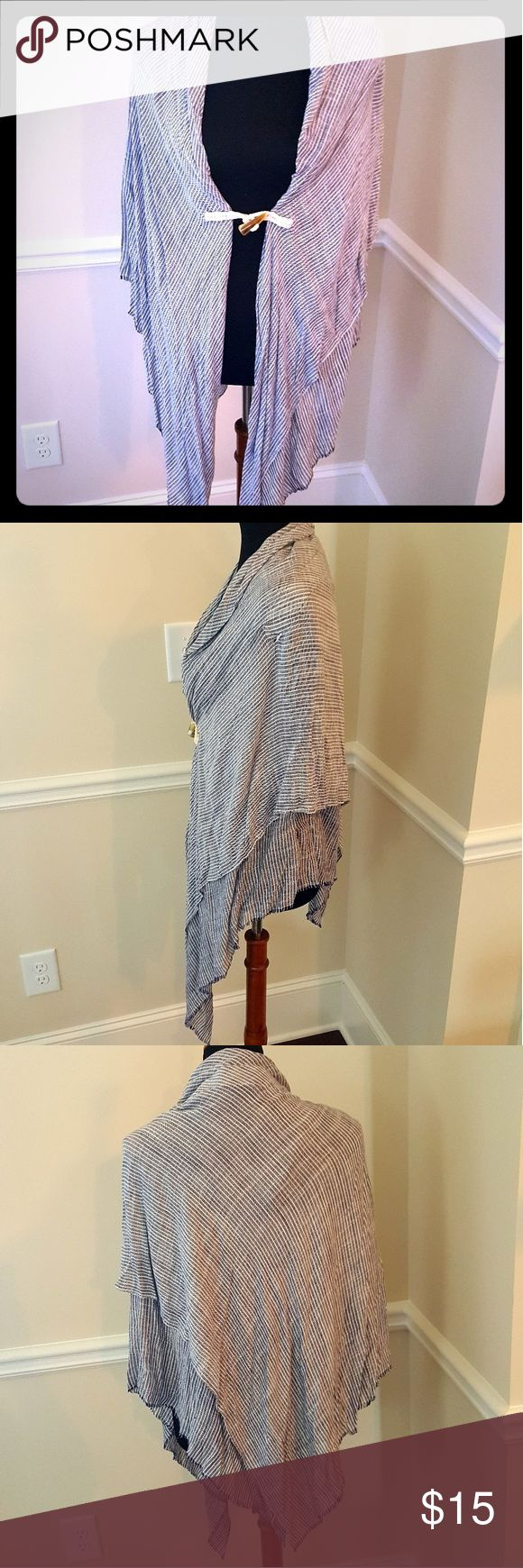 Boutique, light, spring wrap/shall Dark denim blue pinstripe with nautical closure. Perfect for a casual evening. I love it with Sperry's and a white t-shirt dress! Other