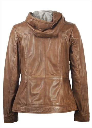 Cognac Hooded Leather Jacket