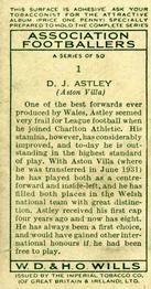 1935-36 W.D. & H.O. Wills Association Footballers #1 Dai Astley  Back