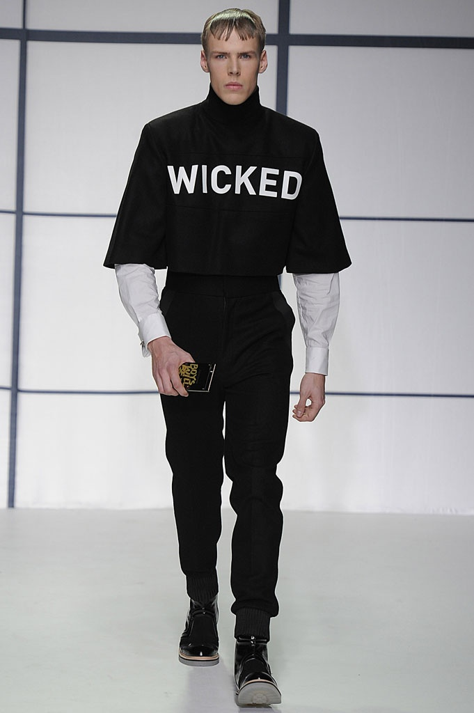 Xander Zhou AW13 #LondonCollections  WICKED.....Slogans tap into the attitue of the collection..
