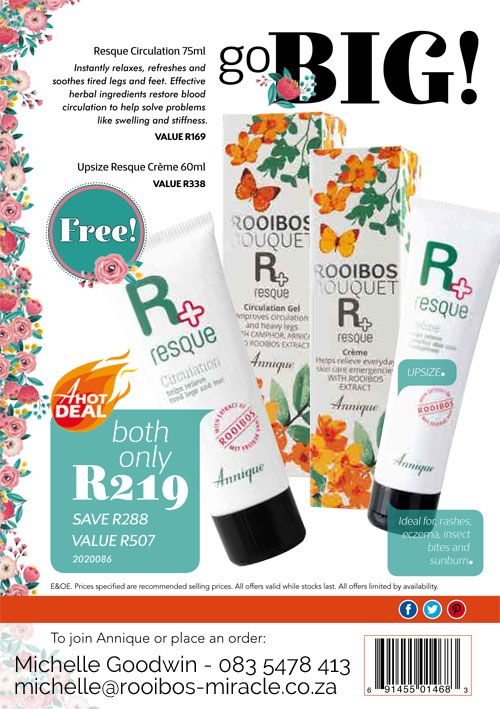 Annique Health & Beauty October 2017 Specials. A must have for every medicine cabinet & first aid box.  Nothing comes close to this product range Circulation gel and UPSIZE Resque Creme