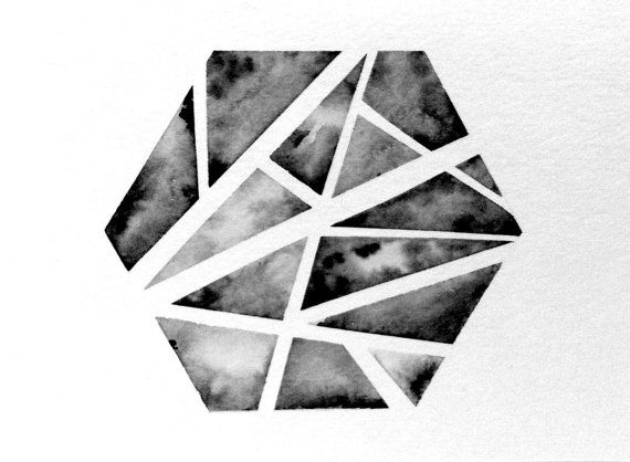 Original Geometric Hexagon Watercolor Painting