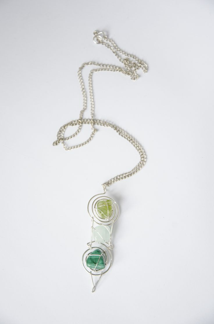 Wire wrapped pendant with olivine, aquamarine and malachite, silver