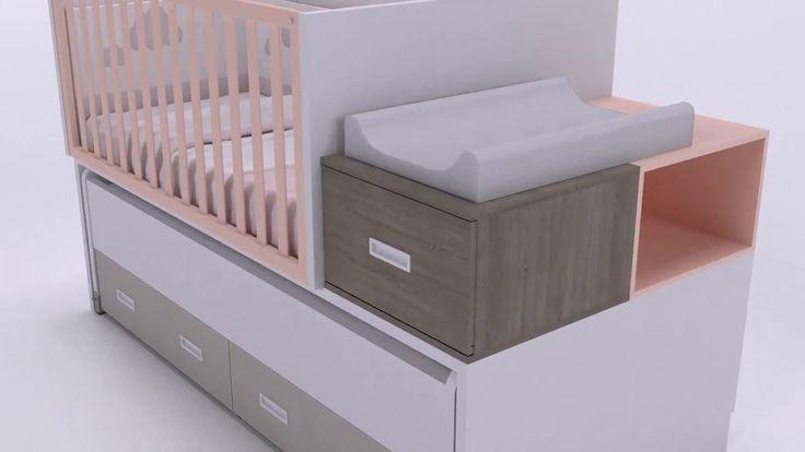 Idehábita - Cuna convertible a cama compacta y con gran capacidad de almacenaje inferior.
