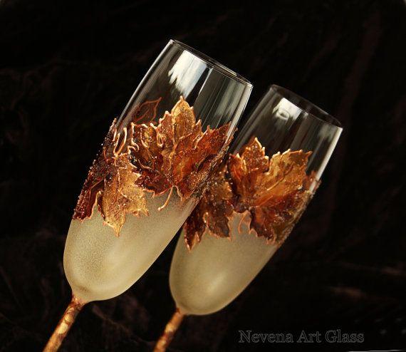 Wedding Glasses Fall Wedding Champagne Flutes by NevenaArtGlass #maple #wedding #champagne