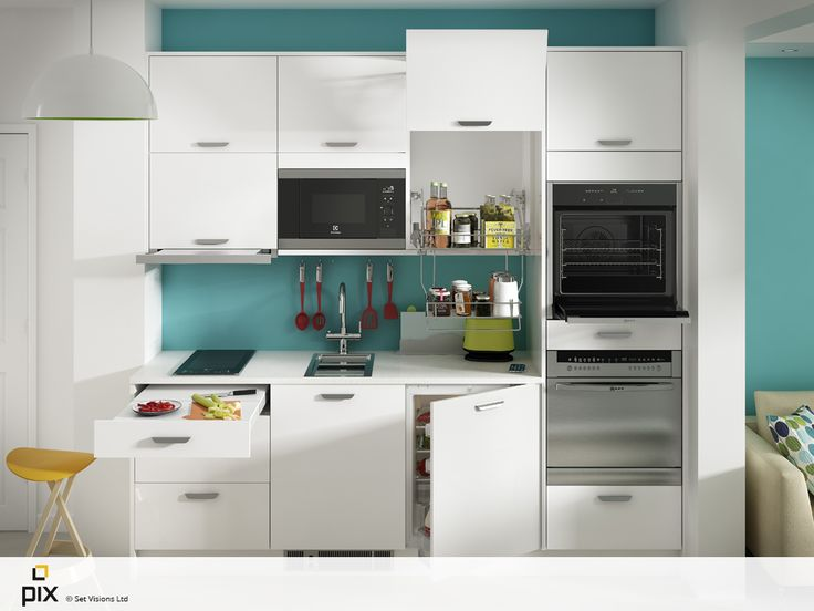 Storage is key in this compact white gloss kitchen. Solutions such as the tall aventos unit with pull down wire storage, pull out worktop and integrated appliances create a usable space. The compact hob and covered compact sink offer functionality and double up as extra prep space when not in use. Perfect for a city centre apartment. CGI photography by http://www.setvisionspix.co.uk/
