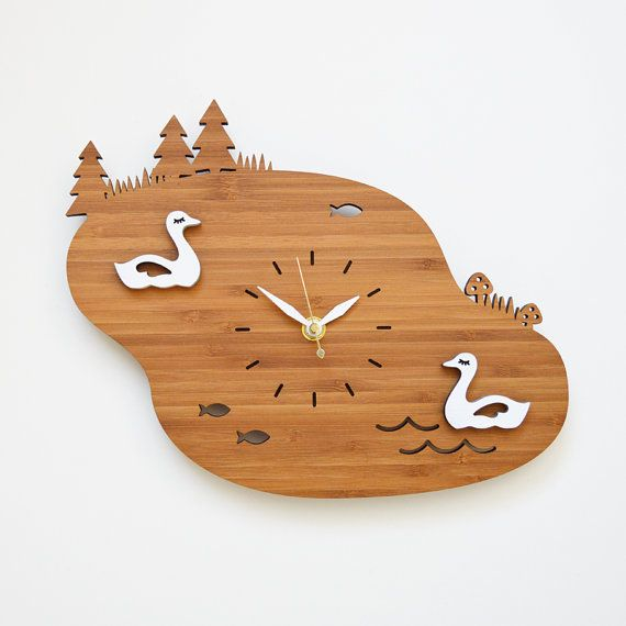 Unique Lake Wall Clock with Swans Bamboo