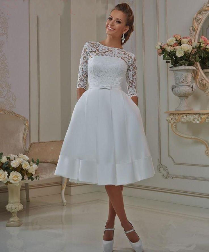 Find More Wedding Dresses Information About Sheer Lace Short Dress Half Sleeves Scoop Corset Elegant