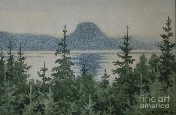 Theodor Kittelsen Art Print featuring the painting Summer Night by Theodor Kittelsen