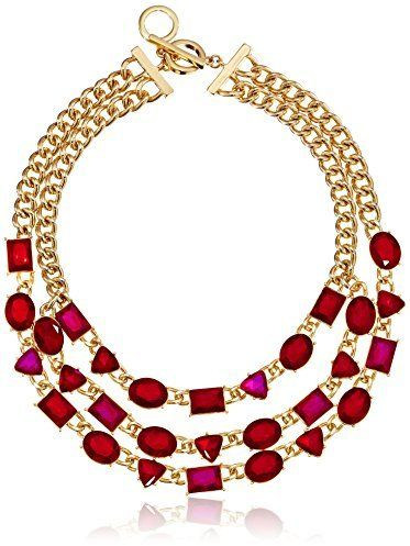 $75, Burgundy Necklace: Anne Klein Night On The Town Gold Tone Epoxy Statet Necklace 16. Sold by Amazon.com.
