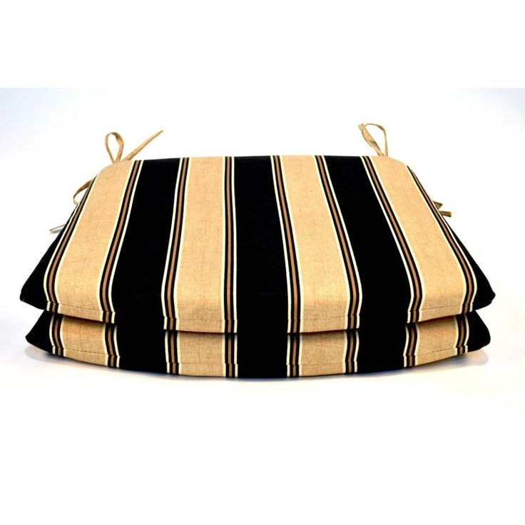 Casual Cushion Tapered Outdoor Seat Pad - Set of 2 Black/Tan - DSSPTP-BLKSTX2