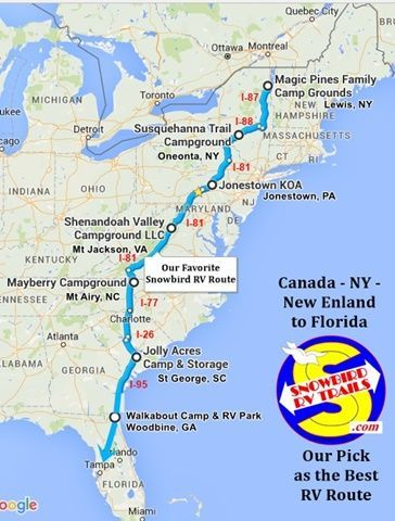 """Mapping and following the """"Best"""" RV Route from the Northeast and Canada to FLorida and the Gulf Coast. VISIT our Trip Sheet for photos, videos. reviews, costs and more."""