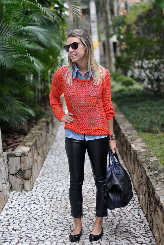 Glam4you - nati vozza - blog - look - sobreposição - analoren - moda ponto net - tricot - laranja - tweed - look - camisa jeans - couro