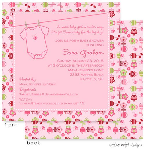 26 best baby shower invitations for girls images on pinterest spring themed flower garden onesie invitation in pink with laundryline baby shower invitation for a new filmwisefo Image collections
