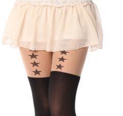 Bayan ince yildiz desenli dövmeli külotlu çorap