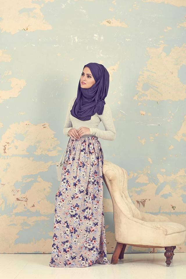 purple hijab and skirt combo <3