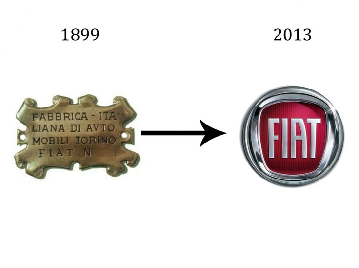 The Fiat logos bold evolution has been marked by many drastic redesigns. Seeing their oldest crest alongside their newest is indicative of not just how far the company has come, but how much design in general has evolved.